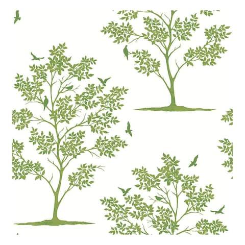 Woodland Green Trees & Birds Wallpaper - 20.5 x 396 x 0.025