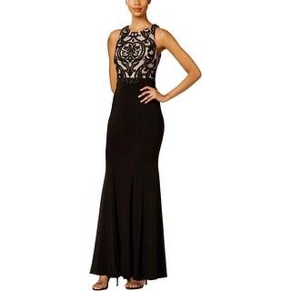 Xscape Womens Damask Evening Dress Embellished Mesh Inset