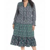 MICHAEL Michael Kors Green Womens Size 2X Plus Floral Maxi Dress
