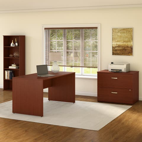 Commerce Office Desk with File Cabinet and Bookcase by Bush Furniture