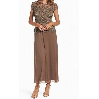Pisarro Nights NEW Brown Womens 2 Embellished Short Sleeve Sheath Dress
