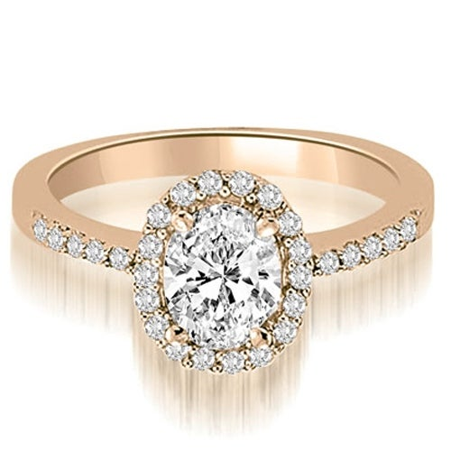 0.75 cttw. 14K Rose Gold Oval And Round Shape Halo Diamond Engagement Ring