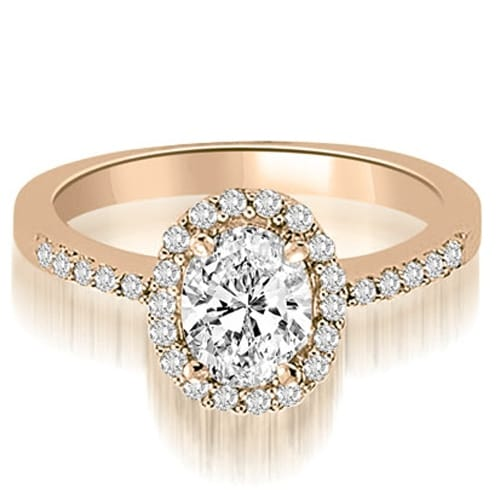 1.00 cttw. 14K Rose Gold Oval And Round Shape Halo Diamond Engagement Ring
