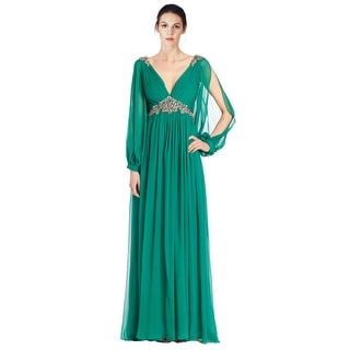 Teri Jon Chiffon Beaded Long Blouson Sleeve Evening Gown Dress - 8