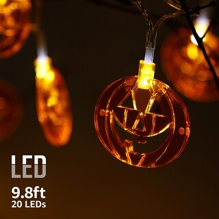 Halloween Copper Wire String Lights,Flat Pumpkins Pendants,Waterproof, Battery Powered, 8 Modes
