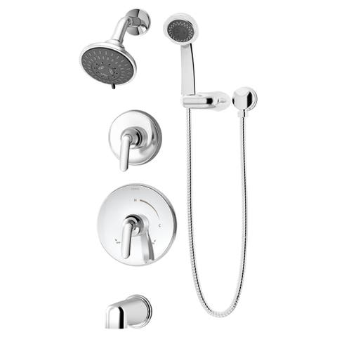 Symmons 5506-1.5-TRM Elm Tub and Shower Trim Only Package with Multi Function Shower Head and Hand Shower and Double Lever