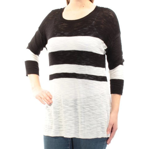VINCE CAMUTO Womens Black Striped 3/4 Sleeve Jewel Neck Sweater Size: S