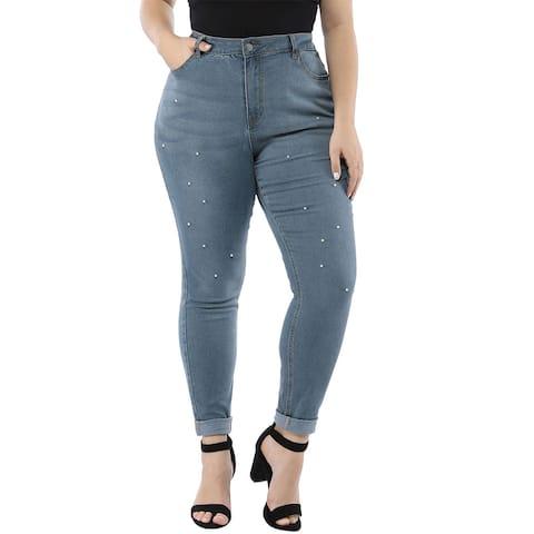 Women's Plus Size Stretch Pockets Beads Skinny Jeans - Blue