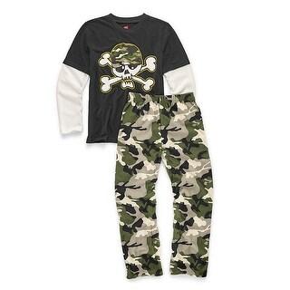 Hanes Boys' Sleepwear 2-Piece Set, Camo Skull Print - Size - 8/9 - Color - Camo Skull