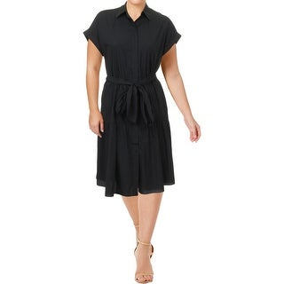 Lauren Ralph Lauren Womens Dikelta Wear to Work Dress Button Front Flounce Hem