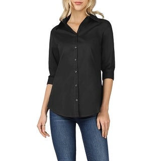 NE PEOPLE Womens Missy Fit 3/4 Folded Sleeve Button Down Shirts Tops