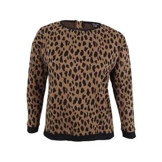 City Chic Women's Plus Size Leopard Lover Printed Sweater (XS, Ecru) - ecru - 14W