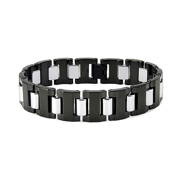 Two Tone Black Plated Tungsten Bracelet (16mm wide) 8.5 Inches