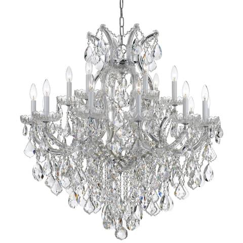 Maria Theresa 19 Light Clear Italian Crystal Chrome Chandelier - 35'' W x 36'' H