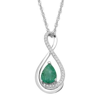 5/8 ct Natural Emerald Pendant with Diamonds in Sterling Silver - Green