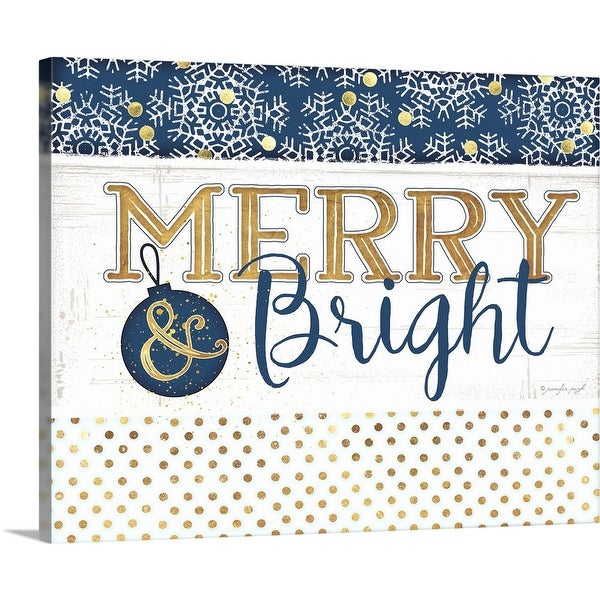 """""""Merry and Bright Blue"""" Canvas Wall Art"""