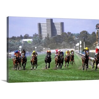 """""""Horses in the Great Western HCP race, Melbourne Cup Carnival, Victoria, Australia"""" Canvas Wall Art"""