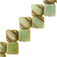 Czech Glass 2-Hole Silky Beads, 6mm Diamond Shape, 40 Pieces, Light Green Turquoise Picasso
