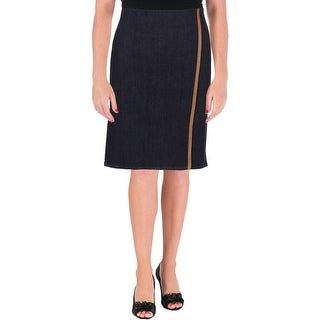 Lauren Ralph Lauren Womens Petites Denim Skirt Contrast Trim Faux Wrap - 8P