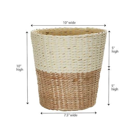 Household Essentials 2-Tone Handwoven Wicker Waste Basket