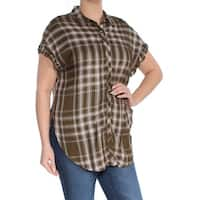 BUFFALO Womens Green Ruffle-cuff Plaid Collared Button Up Top  Size: L