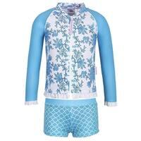 Sun Emporium Girls Blue Paisley Print Jacket 2 Pc Boyleg Swim Set