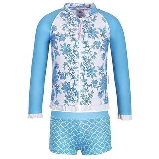 Sun Emporium Little Girls Blue Paisley Print Jacket 2 Pc Boyleg Swim Set