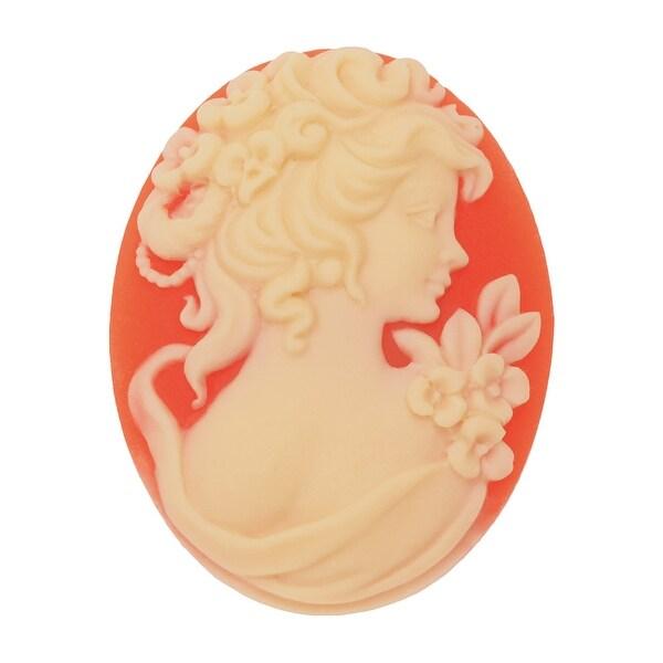 Vintage Style Oval Cameo - Cornelian With Ivory Grecian Woman 40x30mm (1 Piece)
