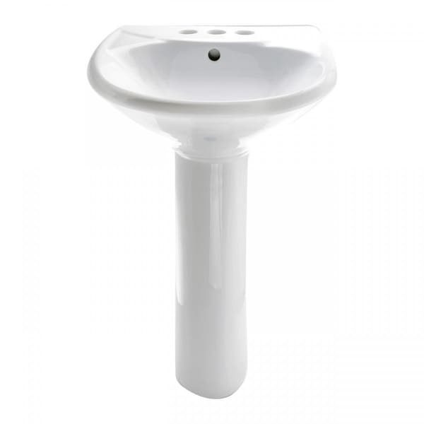 Shop White China Bathroom Pedestal Sink Centerset Faucet Holes With