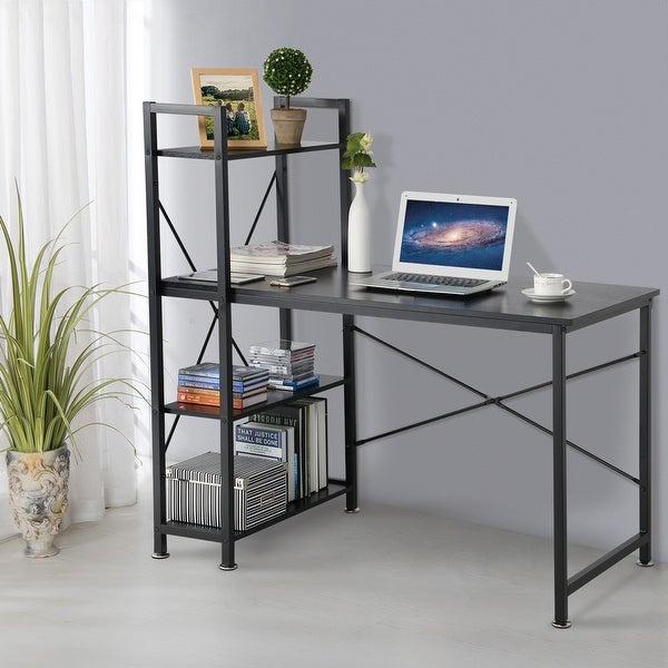 Utopia Alley Modern Style Computer Desk with 4 Tier Attached Bookshelf. Opens flyout.