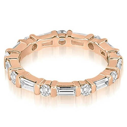 1.25 cttw. 14K Rose Gold Baguette and Round Diamond Eternity Ring