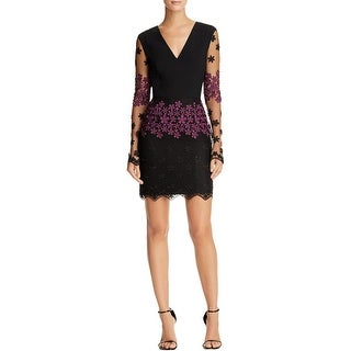Black Halo Womens Cocktail Dress Embroidered Sheath - 0