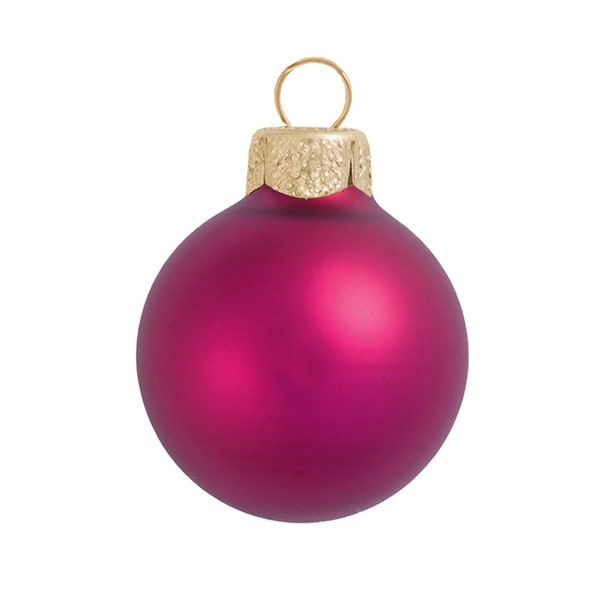 "8ct Matte Raspberry Pink Glass Ball Christmas Ornaments 3.25"" (80mm)"