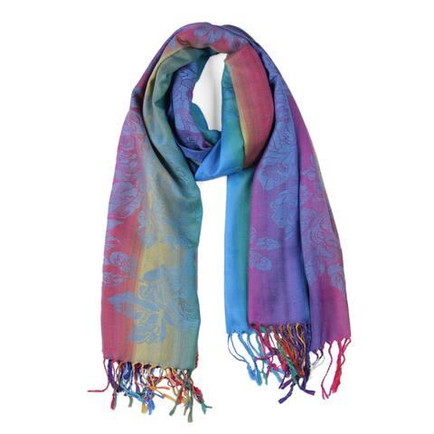 Soft Tassel Wrap Wrap Multi-Color Floral Gradient Color Scarf - Blue
