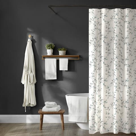 Brielle Home Everly Leaf Printed Shower Curtain