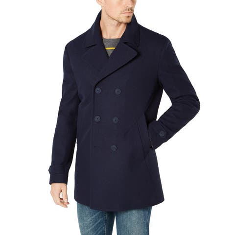 Tommy Hilfiger Mens Coats Navy Blue Size 44S Modern-Fit Double-Breasted