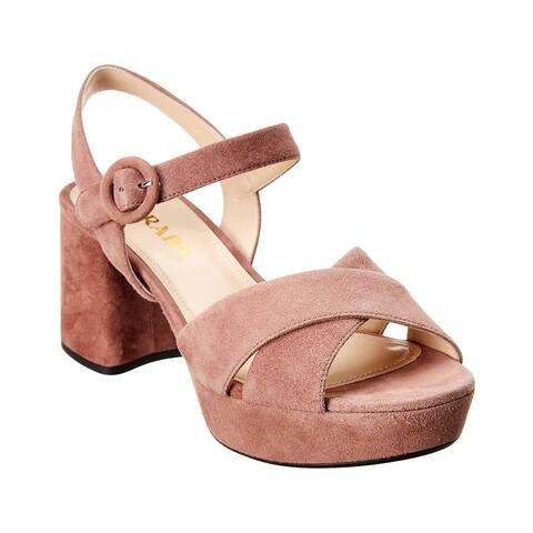 Prada Suede Platform Heel Sandal