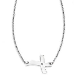 Chisel Stainless Steel Fancy Sideways Cross with CZ Necklace (2 mm) - 21.25 in