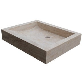 Angled Flow Rectangular Natural Stone Vessel Sink - Light Travertine