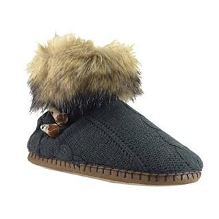 Kensie Women's Faux Fur Sweater Bootie Slippers