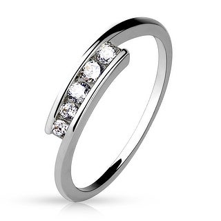 CZ Center Rodium Plated Brass Ring (Sold Ind.)