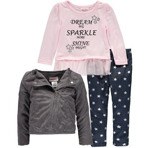 f6673ce59351 Shop Little Lass Toddler Girls 2T-4T 3-Piece Jacket Set - Free Shipping On  Orders Over $45 - Overstock - 18768028