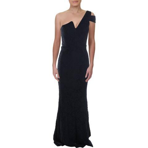 Aqua Womens Evening Dress Lace Split Neck - Navy
