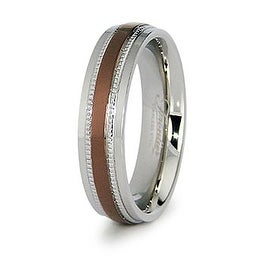 6mm Stainless Steel Ladies' Ring with Espresso Plated Center (Sizes 6-8)