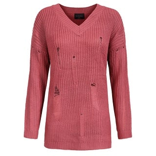 NE PEOPLE Womens Loose Fit V-Neck Soft Holes Knit Sweater Top[NEWT324]