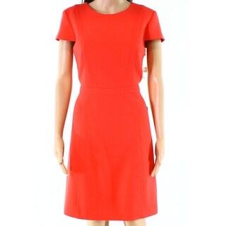 Eliza J Orange Womens Size 12P Petite Seamed Solid Sheath Dress