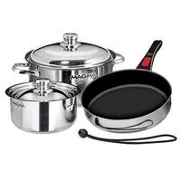 Magma Nesting 7-Piece Induction Compatible Cookware - Slate Black Ceramica Non-Stick Interior Nesting 7-Piece Induction
