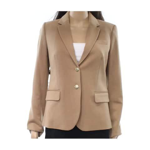 J. Crew Beige Women's Size 4 Notched-Lapel Two-Button Blazer