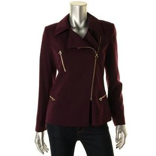 Calvin Klein Womens Petites Blazer Crepe Asymmetric