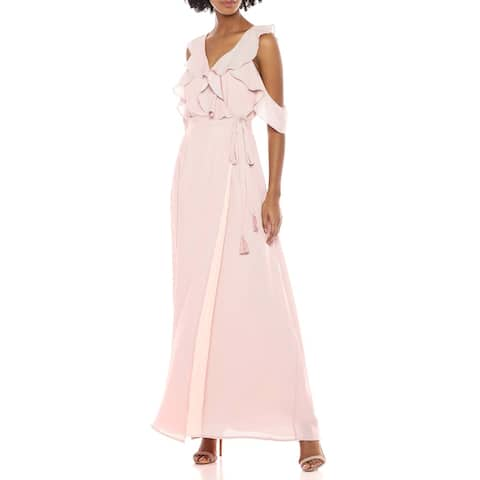 BB Dakota Womens Maxi Wrap Dress Pink Size 0 Ruffle Cold Shoulder